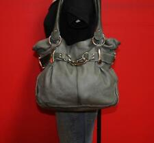 B.MAKOWSKY Medium Gray Leather Hobo Bucket Tote Purse Shoulder Satchel Bag