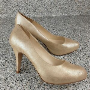 Bettye Muller Gold  Leather Suede Pumps Size 39/8.5 M