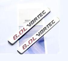 2x OEM 6.0L VORTEC emblem Badge 3D for Silverado Chevy 1500 2500 HD F2U Chrome