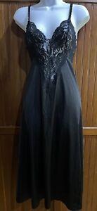 VINTAGE OLGA NWOT Nightgown Slip Chemise Nighty LINGERIE DRESS Sweep Black MED