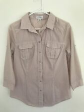 💜 WITCHERY Women's Beige Taupe White Pin Stripe Work Blouse Shirt Top Sz 8 S Xs