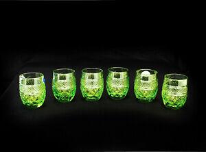 Set of 6 Cut Crystal Green Shot Glasses Vodka Cognac 50ml/1.7oz Neman Hand-Made