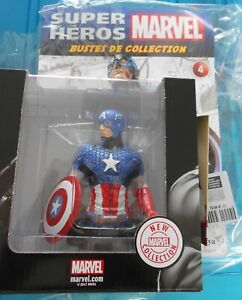 Buste Résine Captain América MARVEL SUPER HEROS n°4 neuf + fascicule ALTAYA