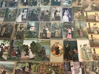 Huge Lot of ~Romantic~Vintage Antique~ Postcards -Men Ladies-People-Romance-p488