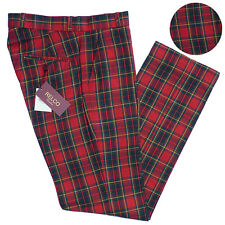 Relco Mens Tartan Check Trousers Sta Press Style All Sizes Mod Skin Prest 34 In.