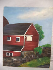 Original Nova Scotia Folk Art Acrylic Panting Red Barn With Blank Sign Farm