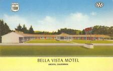 BELLA VISTA MOTEL Arcata, CA Humboldt Co. Roadside c1940s Linen Vintage Postcard