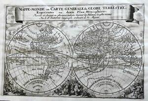 World Map Hemispheres California as an Island 1683 Luyts Sanson decorative map