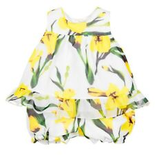 NEW BABY GIRLS DESIGNER PAN CON CHOCOLATE YELLOW FLORAL OUTFIT DRESS SPANISH