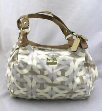 COACH Madison Maggie Cream Tan Fabric Patent Leather Chain Link Hobo Bag 14284