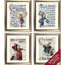 ALICE in WONDERLAND HATTER QUEEN WHITE RABBIT Print on Antique Dictionary Page
