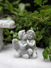 "Miniature Dollhouse FAIRY GARDEN Accessories ~ Gray 1"" Cherub Angel Couple"