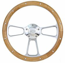 "14"" Billet Aluminum & Wood Steering Wheel for Chevy Impala, Camaro, Chevelle etc"