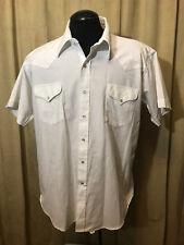 Mens Vintage 1970s Ruddock Western Shirt 18 Solid White Short Sleeve Cotton