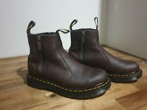 Dr.Martens 2976 with Zips Brown Womens Chelsea Boots Genuine Leather  - Perfect