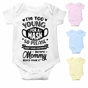 Social Distancing Funny Baby Grow   Baby Bodysuit Baby Vest   Too Young for Mask