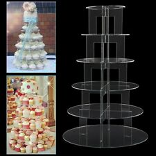 6 TIER CUPCAKE STAND CIRCLE ROUND ACRYLIC WEDDING PARTY CAKE HOLDER DISPLAY RACK