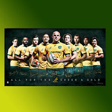 OFFICIAL RUGBY WORLD CUP AUSTRALIA QANTAS WALLABIES 2015 TEAM SPORT PRINT