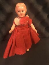 Female Doll 6 inches Vintage 1970s Felt Red Dress with Under Garment, Plastic