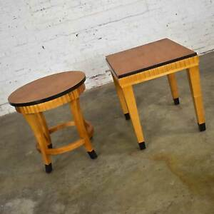 Pair Lane Art Deco Revival End Tables Wood with Black Accents 1 Rectangle 1 Roun