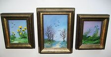 Vtg (3-pc Set) 3-D Paintings on Glass and Masonite Tena Goins 1960's Signed