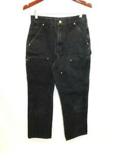 Vtg Carhartt 30 x 32 Black Double Front Work Pants Loose Original Fit B01 USA