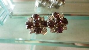 Vintage Clear And Amethyst Coloured Rhinestone Clip On Earring Very Pretty - VGC