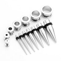 28pcs Ear Stretching Kit Steel Taper Tunnel Plug Expander Piercing US 12G-00G