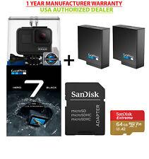 GoPro Hero 7 Black USA Edition+ 2USA GoPro Batteries+Sandisk Extreme 64GB Bundle