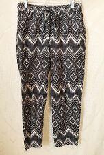 Size 4 J.CREW Black & White Cotton/Linen Boho Casual Pants