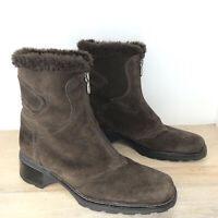 Aquatalia Size 9 M Brown Suede Faux Fur Lined Chunky Heels Ankle Boots Zip Front