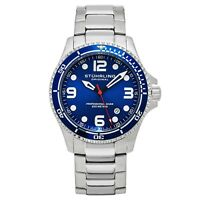 Stuhrling Grand Regatta Men's Diver Silver Steel Link Bracelet Watch 593.332U16