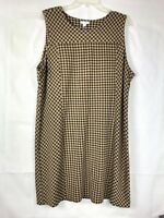 J Jill NWT Women's Ponte Dress Sleeveless Shift Gingham Plaid Size PXL Camel 92
