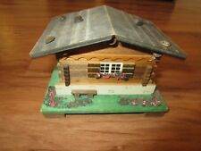 Vintage Reuge Romance Edelweiss Wooden Cabin Musical House Music Box Swiss Made