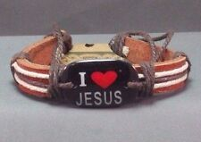 "Christian Cuff Bracelet ""I LOVE JESUS"" Brown Leather BLACK Facing Gift!!"