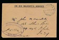 BRITISH SOLOMON ISLANDS OFFICIAL OHMS 1947...PROTECTORATE POSTMASTER CACHET