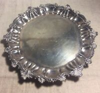 Antique English Sheffield Sterling Silver Ornate Footed Salver Tray 274g