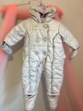 Cute Baby Girls Miniclub Silver Snowsuit With Detachable Mittens & Feet 3-6m🎀