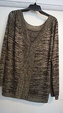 NWT $188 XL PRIVE DEEP V-NECK DOWN BACK Beautiful Black Gold Shimmer Sweater