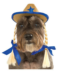 Pet Dog Cat Western Cowgirl Sheriff Blue Costume Hat With Braids-S-M