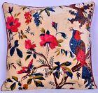 Velvet Cushion Cover Bird Floral Ethnic Indian Handmade Pillow Home Decor Art