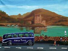 Bus TOUR Eilean Donan Castle: ORIGINALE scozzese dipinto da John Sentenza Cowan