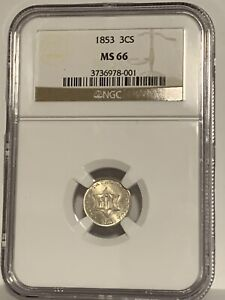 REGISTRY 1853 3 CENT SILVER  MS-66  NGC  AN ALL WHITE SPARKLER  10 BETTER @ NGC