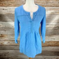 J Jill Womens Popover Blouse Top Lightweight Solid Blue 3/4 Sleeve Size Med M