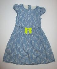 Gymboree Painting Pals Blue Chambray Giraffe Print Dress Girls 5T Twins NEW NWT