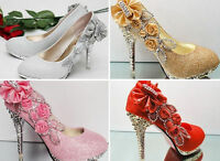 New 4 color Vogue lace Rose Flowers Crystal High Heels Wedding Bridal Shoes
