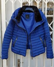 ZARA FUR COLLAR BLUE JACKET COAT SIZE XS 8 PUFFA ANORAK EXCELLENT CONDITION