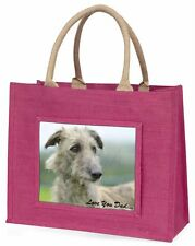 Rough Coat Lurcher 'Love You Dad' Large Pink Shopping Bag Christmas P, DAD-75BLP