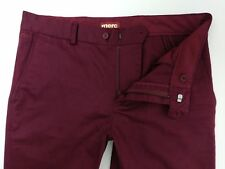 Merc London Winston Chino Dress Trousers Slim Fit Burgundy Wine Red W32 L33 New