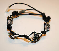 Black Leather Lariat style Bracelet complete with black heart Euopean Beads
